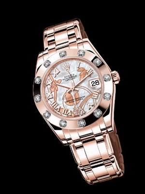 6cd22f39e رولكس هي شركة أخرى مشهورة عالمياً تنتج ساعات نسائية حصرية. ساعة رولكس  المميزة - ساعة دائرية الشكل مصنوعة من معادن ثمينة وقطعة من اللؤلؤ.
